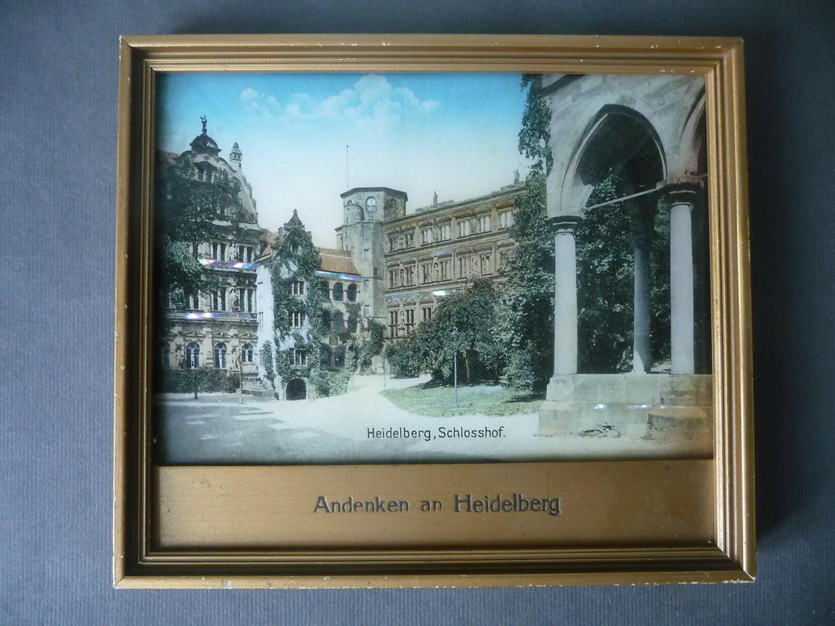 Andenken-Bild Heidelberg Schlosshof mit Perlmutt-Einlagen Glitzerbild gerahmt 0