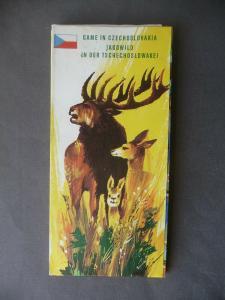Landkarte Jagdkarte Jagdwild in der Tschechoslowakei 1974