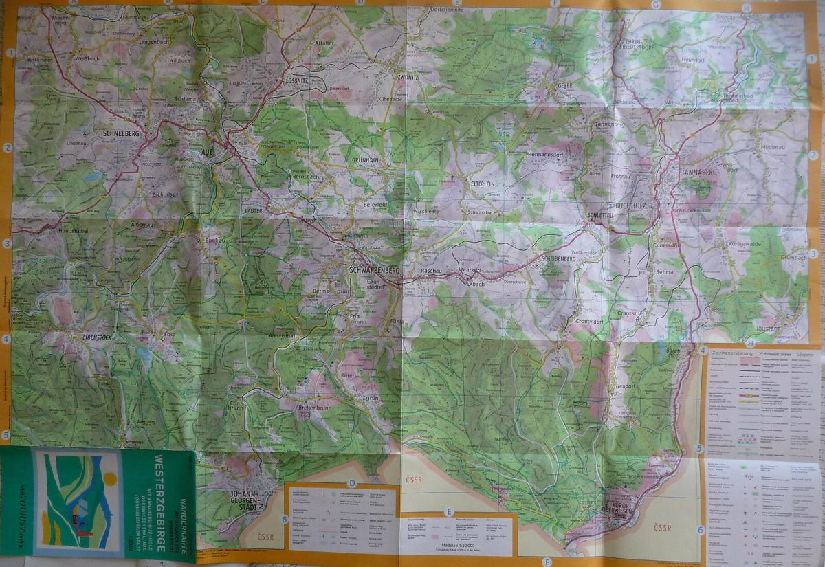 Landkarte Wanderkarte Westerzgebirge Schwarzenberg Aue Annaberg DDR 1977 1