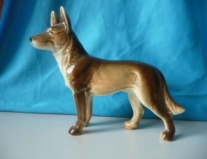 Kleine Keramikfigur Schäferhund