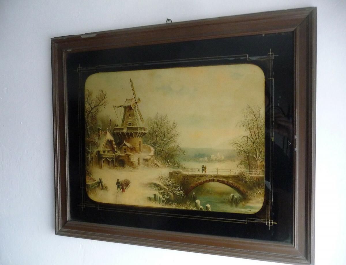 Altes Glasbild Hinterglasdruck Niederländische Landschaft Windmühle 1899 0