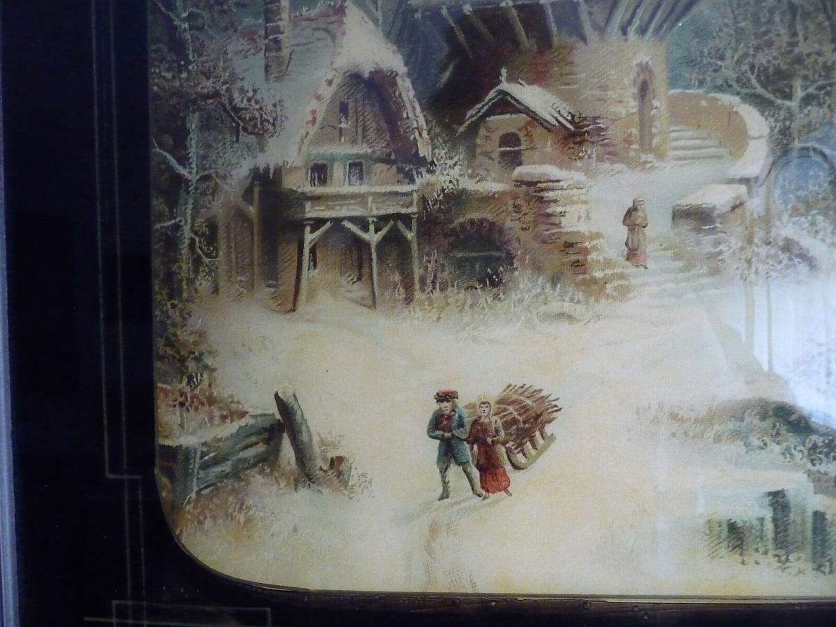 Altes Glasbild Hinterglasdruck Niederländische Landschaft Windmühle 1899 1