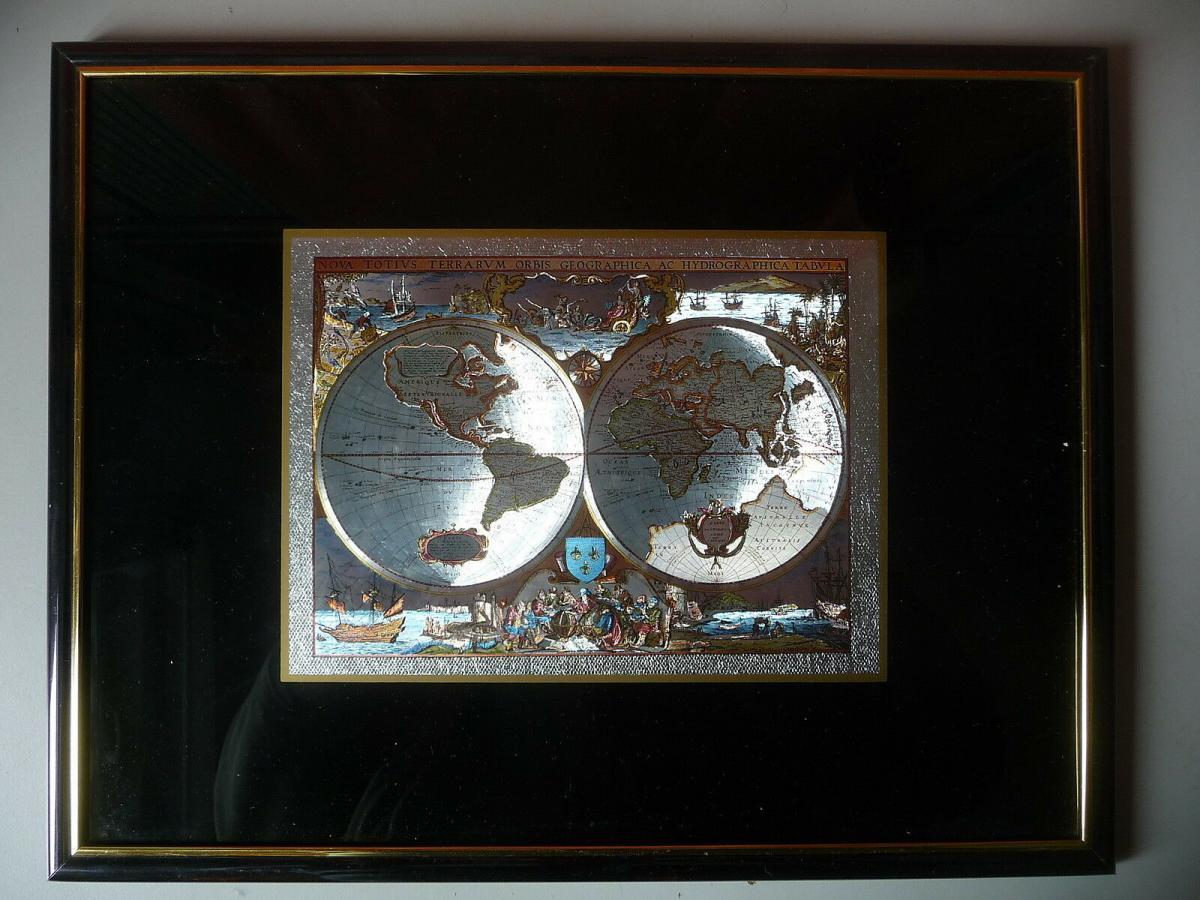 Deko-Bild Druck alte Weltkarte Leuchteffekt lumineszierend 0
