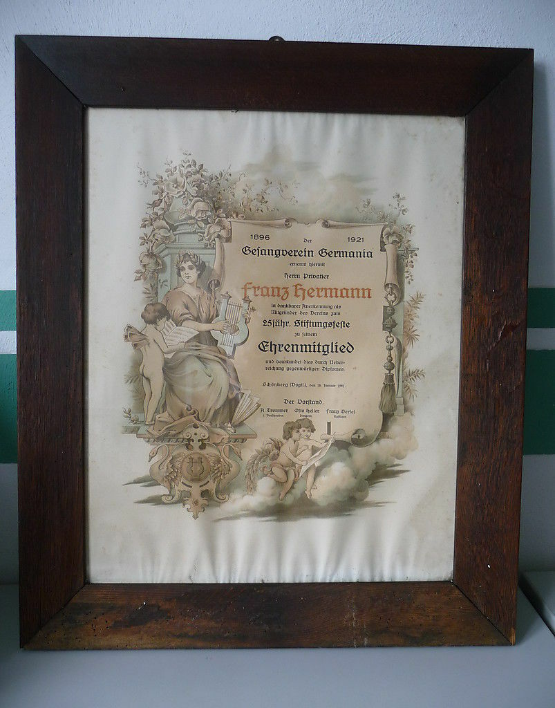 Urkunde Lithographie Gesangverein