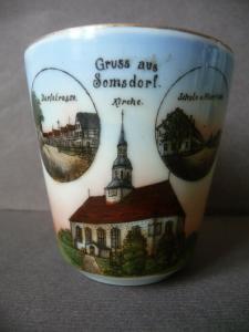 Kleine Andenkentasse Porzellan Somsdorf Freital Kirche Schule Dorfstraße