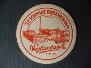 Alter Bierdeckel Brauerei J.F. Schmidt Vogtlandquell Rodewisch