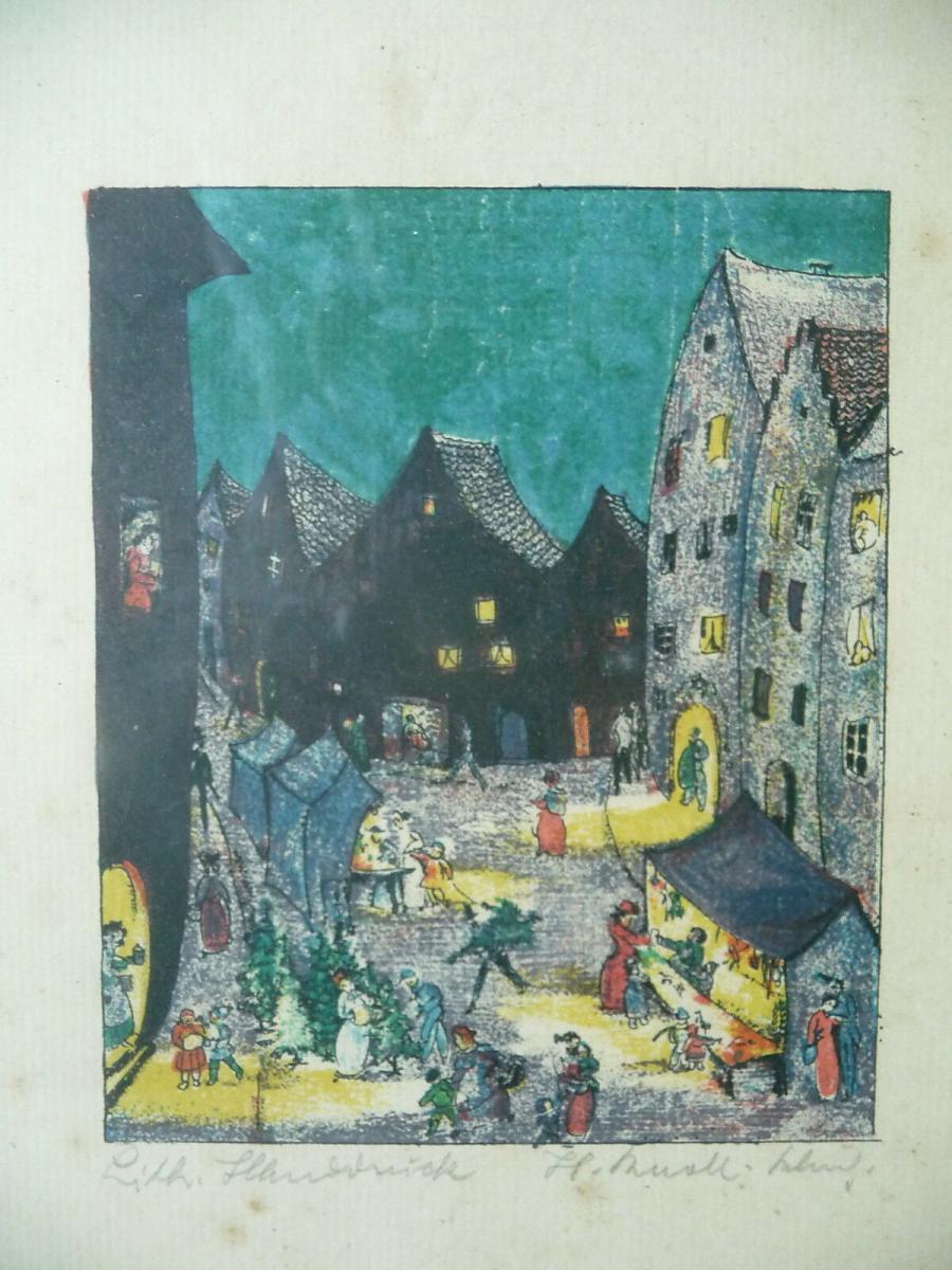 3 Druckgraphiken Szenen Garten Stadt Nacht H. Knoll-Schmid? 3