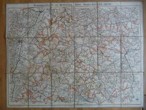 Straßenprofilkarte Baden-Württemberg Hessen Darmstadt / Mittelbach ca. 1920