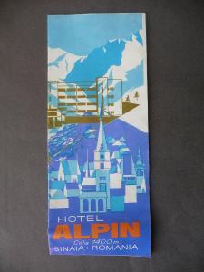 Reklameprospekt Faltblatt Hotel Alpin Sinaia Rumänien ca. 1970