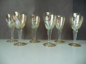 6 x Likörglas Gläser mit Blumendekor Glitzerbesatz