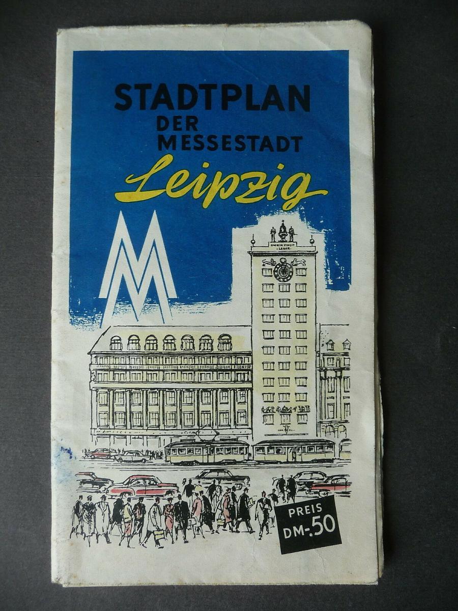 Alter Stadtplan Leipzig mit Innenstadtplan Messeplan 1959 0