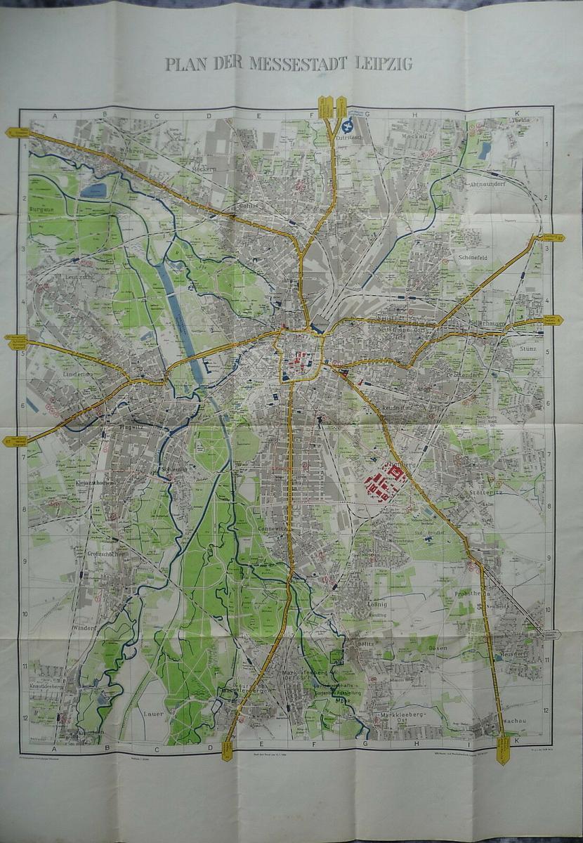 Alter Stadtplan Leipzig mit Innenstadtplan Messeplan 1959 1