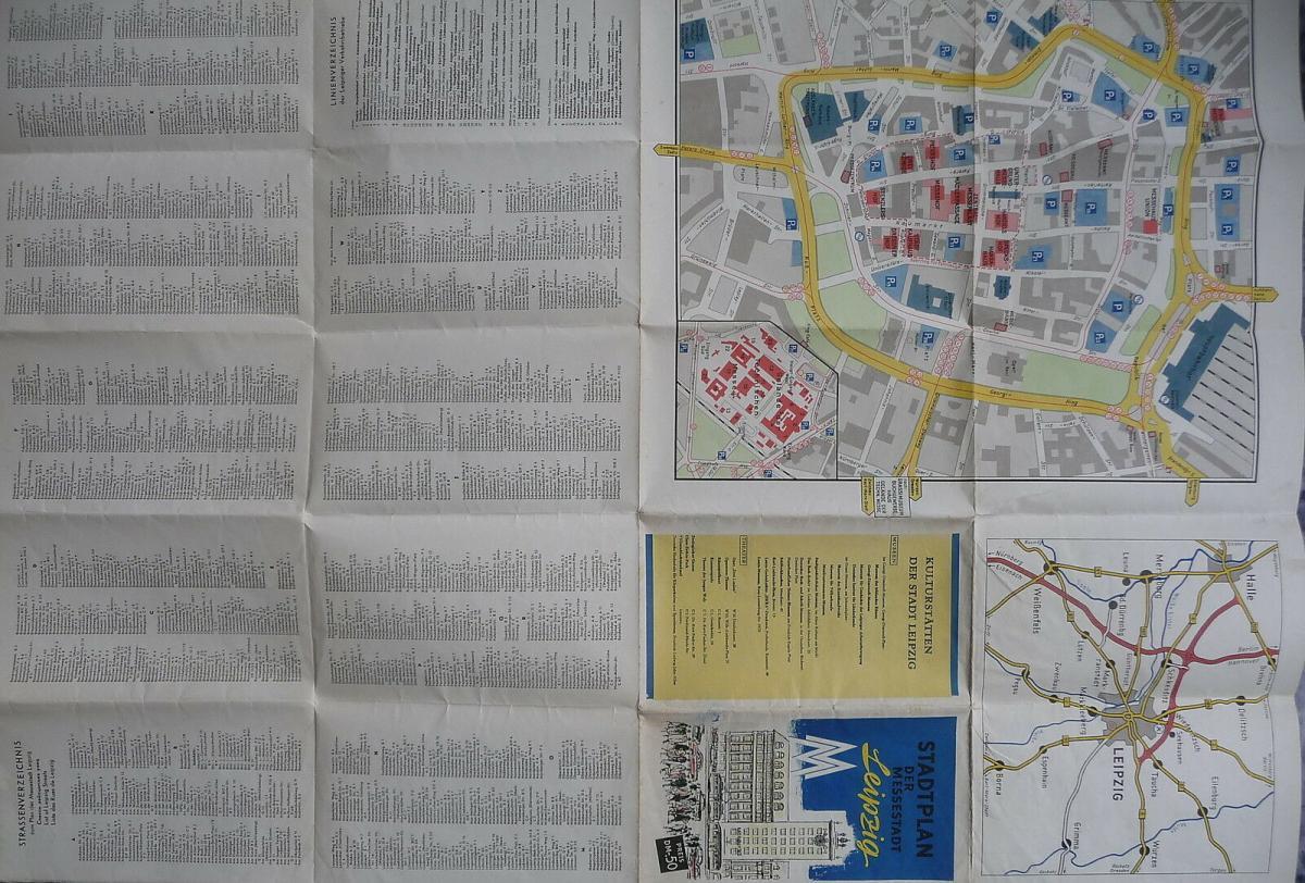 Alter Stadtplan Leipzig mit Innenstadtplan Messeplan 1959 2