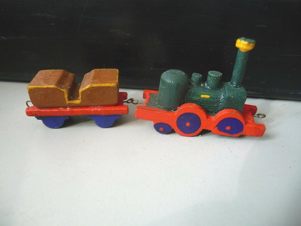 Miniatur Lokomotive mit Tender aus Holz Erzgebirge? Saxonia? 0