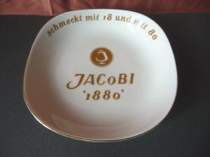 Aschenbecher Schale mit Reklame Jacobi 1880 Weinbrand / Schwarzenhammer Porzella