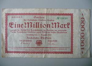Notgeld Gutschein 1 Mill M. Reichsbahndirektion Dresden