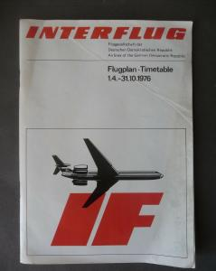 Interflug DDR Flugplan Timetable 1976