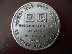 Medaille Spinnerei Mühltroff / 30 Jahre Volkseigen 1983
