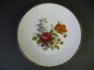 Zierteller Wandteller Blumenmalerei Rose Mohn / Kleiber Porzellan