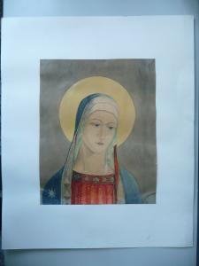 Heiligenbild Maria mit Heiligenschein Deckfarbenbild