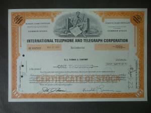Aktie Share International Telephone & Telegraph Corp. ITT 1972