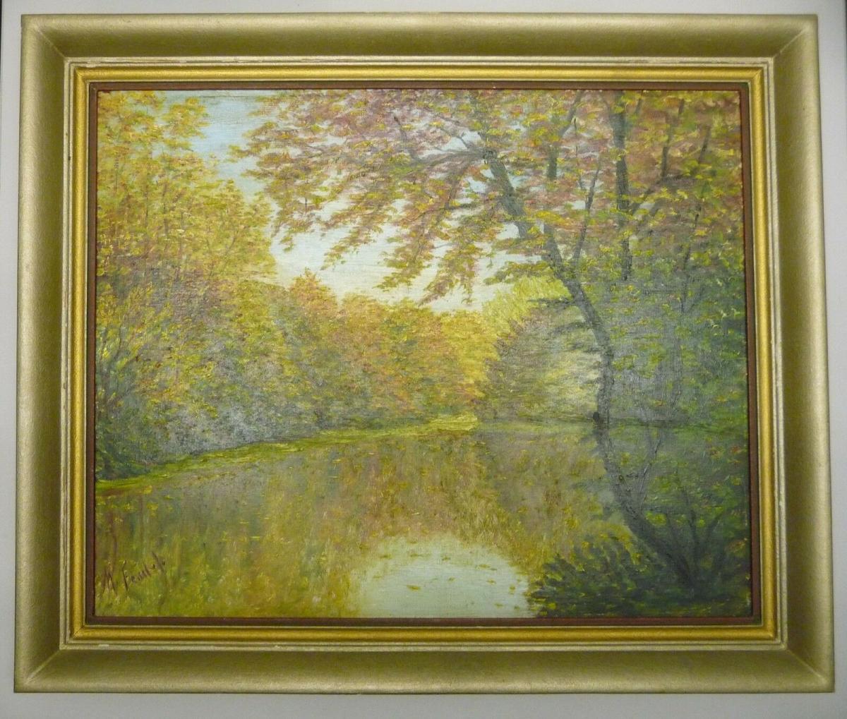 Landschaftsgemälde Waldsee Herbstbild M. Fendel/Feudel ca. 1940 0