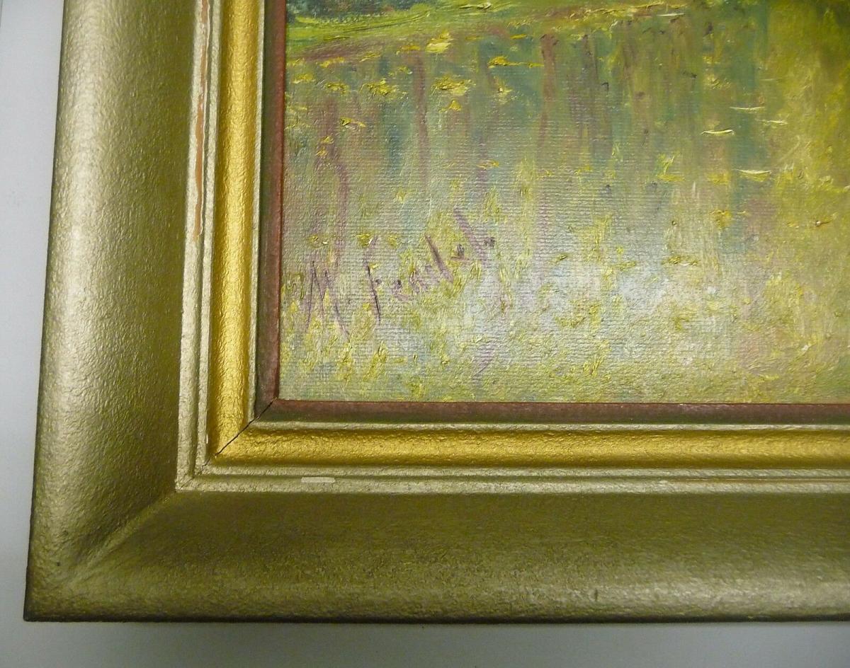 Landschaftsgemälde Waldsee Herbstbild M. Fendel/Feudel ca. 1940 1
