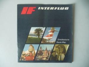 Heft Interflug Streckenkarte Flugrouten 1974
