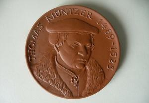 Medaille Thomas Müntzer / Allstedt Helme / Böttgersteinzeug Meißen