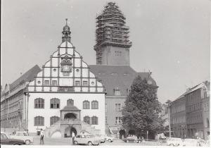 Orig. Foto Plauen Vogtland Rathaus mit eingerüsteter Turmspitze ca. 1970