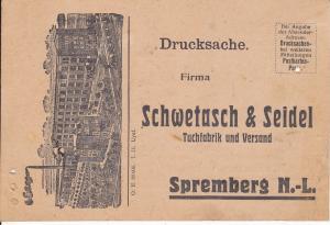 Druckache Postkarte Bestellschein Tuchfabrik Schwetasch & Seidel Spremberg NL