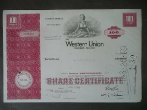 Aktie Share Western Union Telegraph Comp. 1969