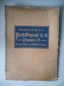 Karton mit Firmensignet Schriftzug Druckerei Moritz Wieprecht Plauen ca. 1920