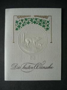 Alte Glückwunschkarte Klappkarte Prägedruck Jugendstil Hirsch ca. 1920