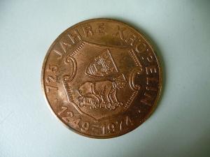 Medaille 725 Jahre Kröpelin b. Rostock Stadt-Jubiläum 1974