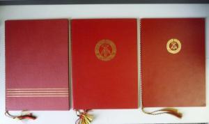 3 Urkundenmappen DDR rot Staatswappen
