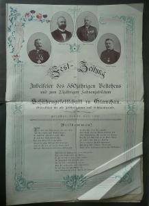 Festzeitung Schützenverein Schützengesellschaft Glauchau 350-Jahr-Jubiläum 1901