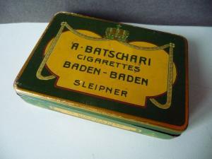 Alte Zigarettendose Blechdose Batschari Baden-Baden ca. 1910