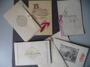 4 x Glückwunschkarten Biletts zur Taufe 1928