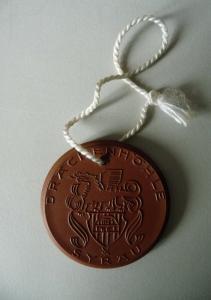 Medaille Drachenhöhle Syrau Stalaktiten Stalagmiten / Böttgersteinzeug Meißen