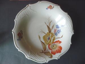 Großer prächtiger Zierteller Schale Blumendekor / Bareuther Bavaria Porzellan