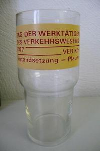Glas Tag der Werktätigen Verkehrswesen Plauen 1977