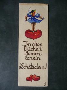 Altes Lesezeichen mit Spruch Mädchen und Herz 1947