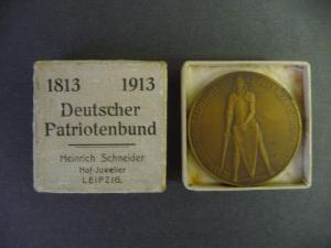 Medaille Deutscher Patriotenbund / Völkerschlachtdenkmal 1913 in Originaletui!
