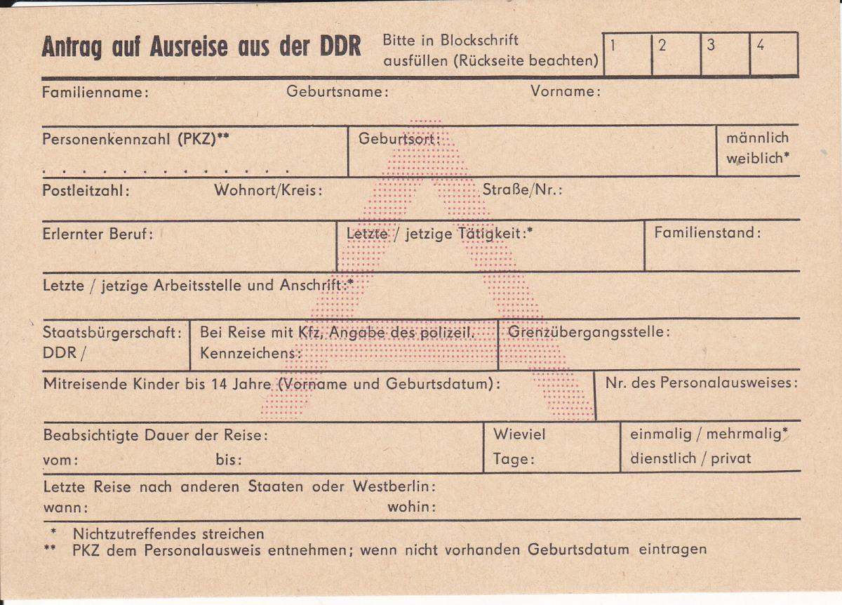 Formular Anhtrag auf Ausreise aus der DDR 0