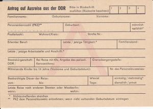 Formular Anhtrag auf Ausreise aus der DDR