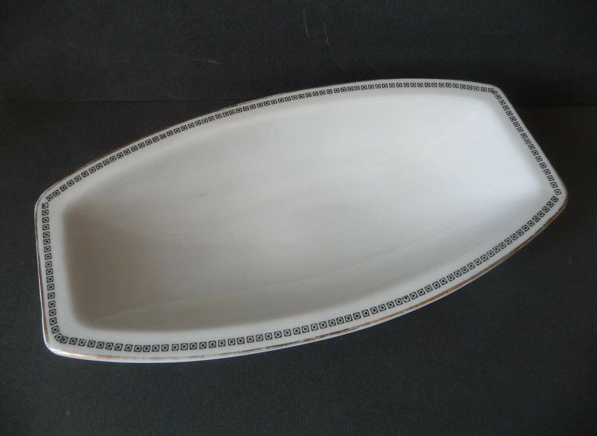 Schale Zierrand weiß schwarz gold / Rosenthal Porzellan 0