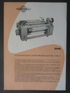 Orig. Reklame Flyer Blatt Seidenwebmaschine K 58H / Kovo Elitex ca. 1960