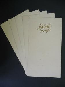5 Blanko-Speisekarten Vordruck Speisefolge Goldschrift