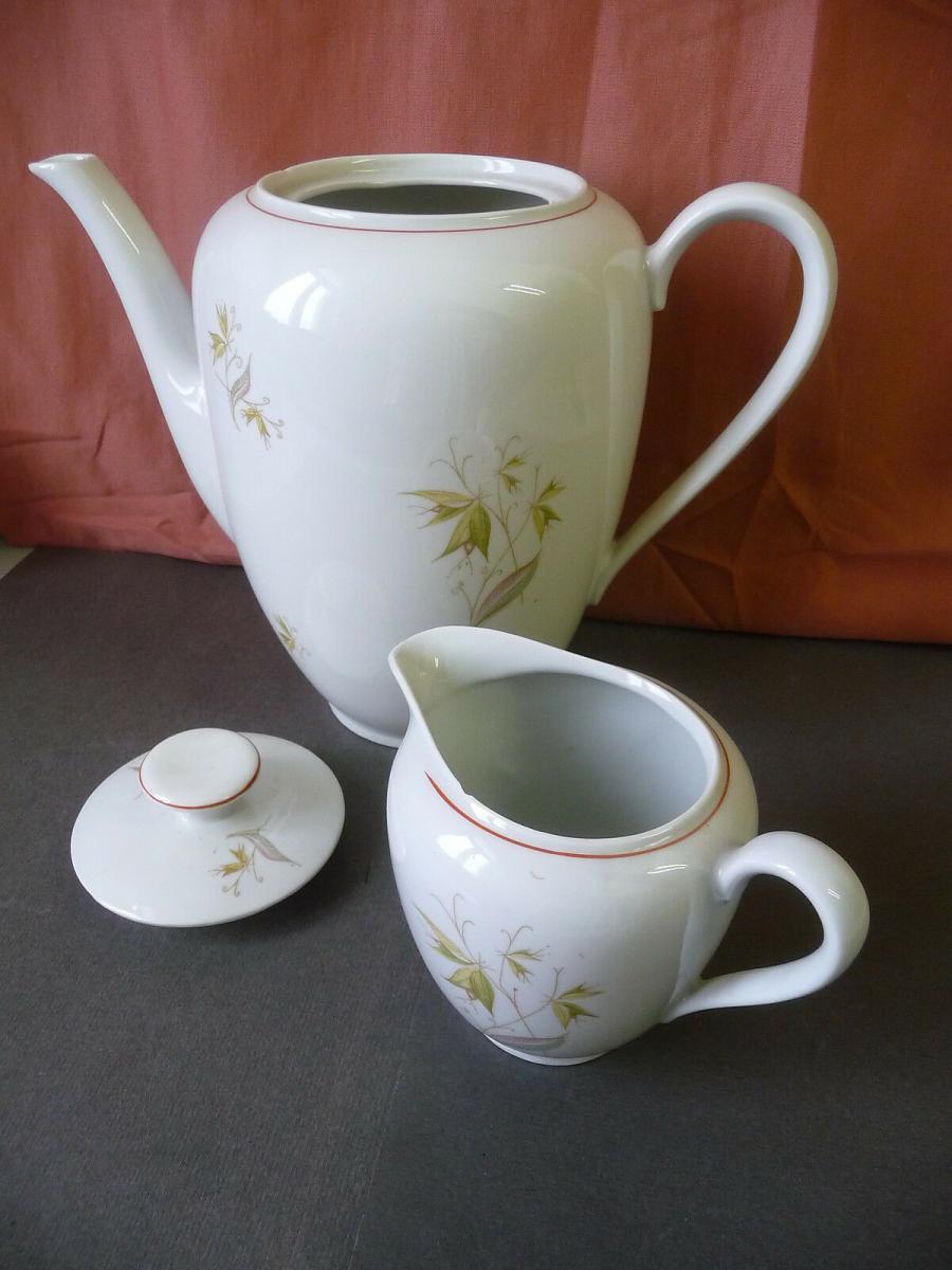 Kaffeekanne + Sahnegießer grünes Blumendekor 1950er / Kalk Eisenberg Porzellan 1